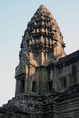 sunset light over Angkor Wat ruins Stock Photo