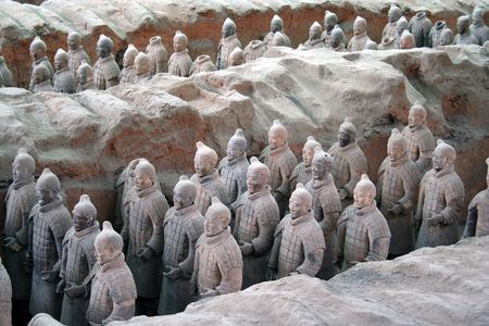 terracotta warriors in line Editorial