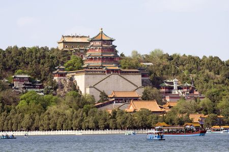 beautiful panorama of the imperial summer palace in Beijing