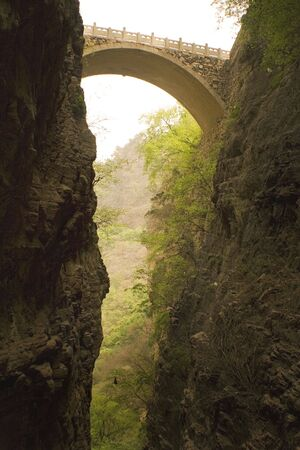 flying bridge over the canyons of Cayangshan, China Stock Photo