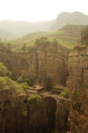 general view of the temple and canyons of Canyangshan in Hebei, China Stock Photo - 4796394