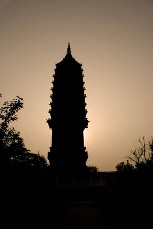 silhouette of a traditional old pagoda in China