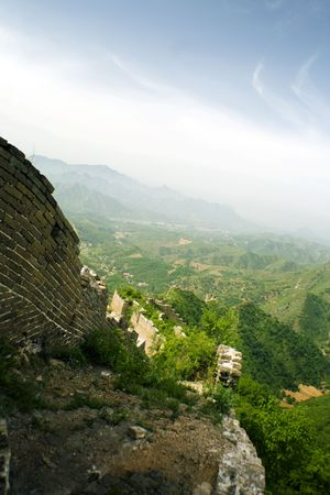 the great wall and the fall: panoramic view of the Great Wall Stock Photo