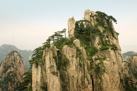 top of the peak in huangshan, china photo