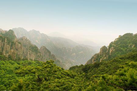 panorama from huangshan summit Stock Photo