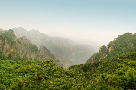 panorama from huangshan summit Stock Photo