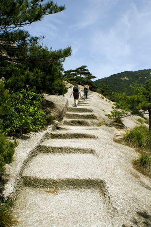 trekking on huangshan Stock Photo