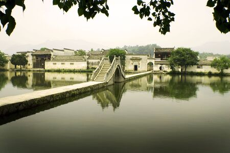 hongcun, traditional village in south china, moon bridge