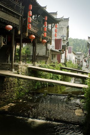 bridges over the river, likeng village, china