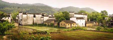 panoramic view of countryside village in china photo