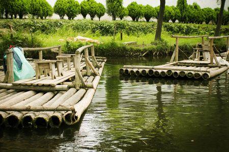 water transportation: water transportation on bamboo