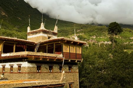 tibetan panorama in sichuan, china photo