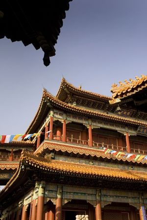 roofs and wood buildings in beijing, china