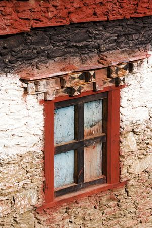 traditional tibetan house, detail of the window photo