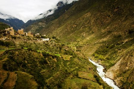 small tibetan village in sichuan photo