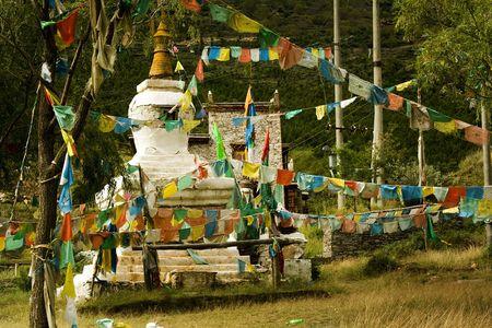 traditional tibetan stupa in Tibet photo