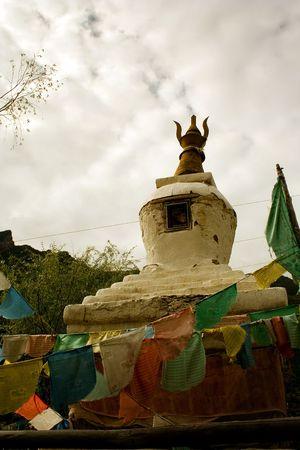 mystycal stupa and temple in tibet photo