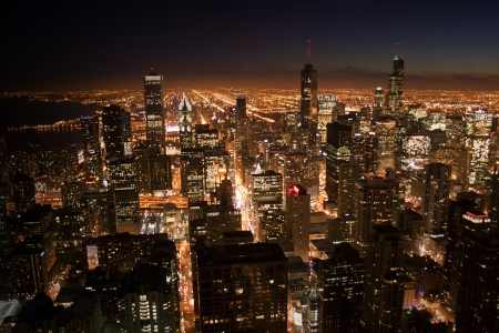 nightview: Nightview of Chicago Stock Photo