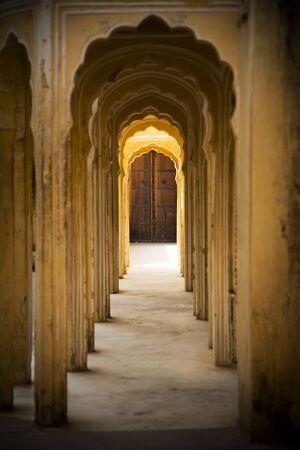 Indian interior, corridor with columns, Jaipur photo
