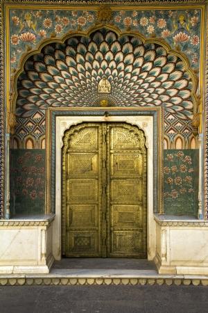 peacock door in Jaipur, India