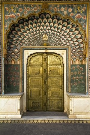 jaipur: peacock door in Jaipur, India
