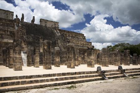 itza: Mayan steps and columns in Chichen Itza