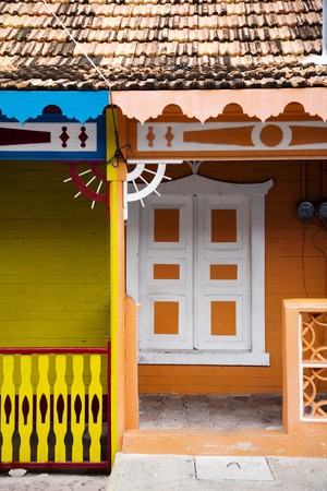 fronts: colorful house fronts in Isla Mujeres, Mexico