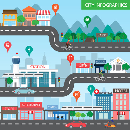 houses street: city infographics background and elements, there are village, building, road, park, transportation, Can be used for web design, info chart, brochure template.