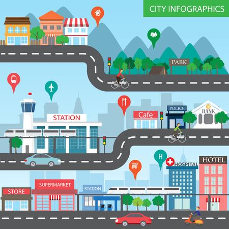 carretera: Infografía de la ciudad de fondo y los elementos, hay pueblo, edificio, camino, parque, transporte, puede ser utilizado para el diseño web, gráfico de información, plantilla de folleto.