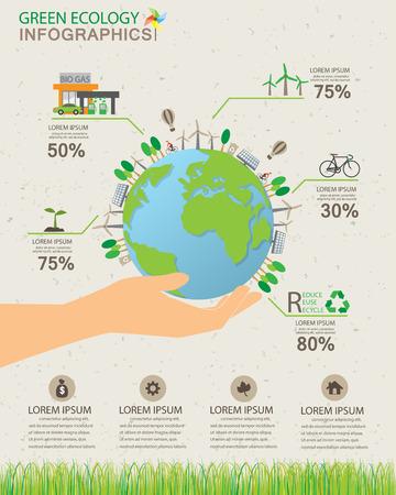 verde ecología infografías elementos y antecedentes, concepto favorable al medio ambiente. Puede ser utilizado para la estadística de la industria, los datos de negocio, diseño de páginas web, información gráfica, plantilla de folleto.