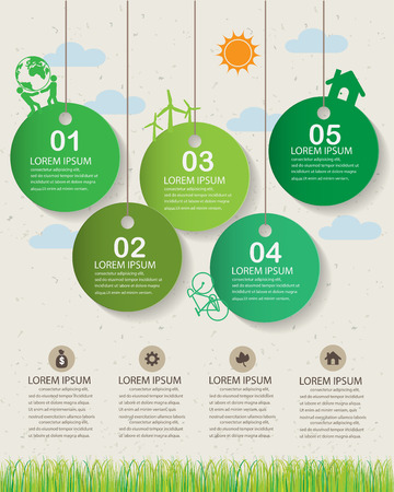 tree illustration: green ecology infographics elements and  background, environment friendly concept. Can be used for  industry statistic , business data, web design, info chart, brochure template.  Illustration