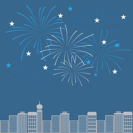 fireworks on white background: firework with night town background, can be ues for celebration, party, and new year event Illustration