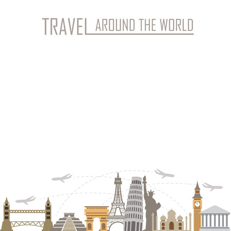world travel background, vacation and famous landmark concept. words can be added.