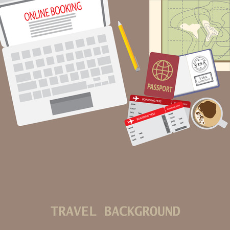 prepare for your travel background, there are map, computer for online booking, ticket and passport. text can be added