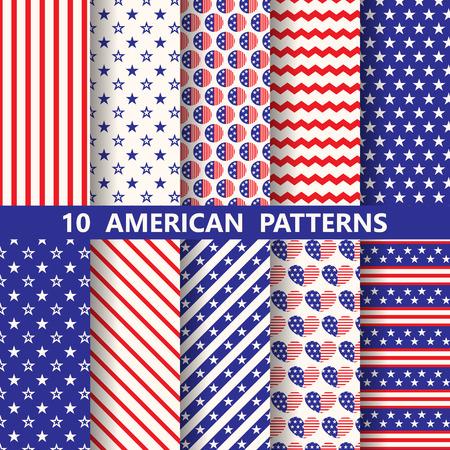 흰색, 파란색, 빨간색 기하학적 미국 패턴, 기념일을위한 애국적인 디자인의 집합입니다. 견본은 끝이없는 질감, 패턴 칠, 웹 페이지 배경, 표면 벽지에 일러스트