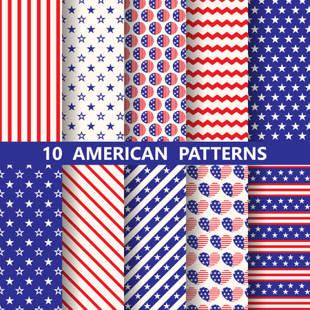 set of white , blue, red geometric american patterns, Patriotic design for memorial day. Swatches, endless texture can be used for wallpaper, pattern fills, web page,background,surface