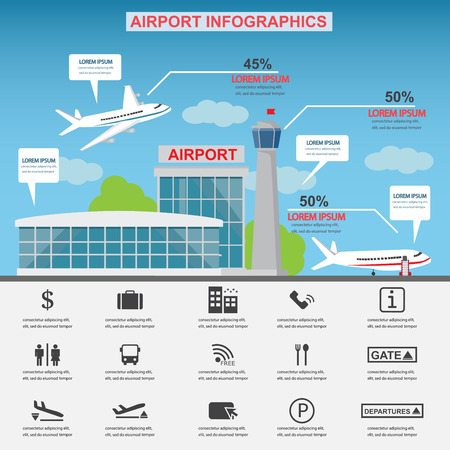 airport symbol: Airport service business icons with architect and airplane design. Can be used for statistic business data, web design, info chart, brochure template. Illustration