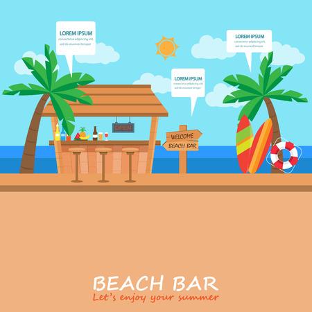 あなたの夏の休日や休暇のビーチ バー背景。バー、カフェ ビジネス。表紙ページ、ウェブ デザイン、情報チャート、パンフレットのテンプレート  イラスト・ベクター素材