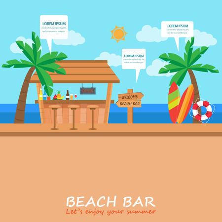 Strandbar Hintergrund für Ihren Sommerurlaub und Urlaub. Bar und Café-Geschäft. Kann für Deckblatt, Web-Design, info-Chart, Broschüre Vorlage verwendet werden. Illustration