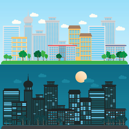 daytime: cityscape daytime and nighttime, infographics background and elements. Can be used for   statistic , business data, web design, info chart, brochure template.  Illustration