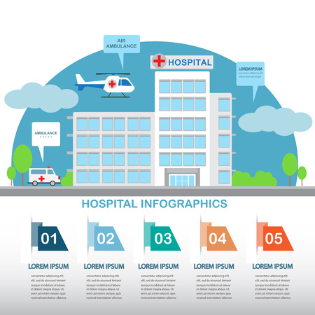 flat design hospital building with infographic elements templates. ambulance car and air.