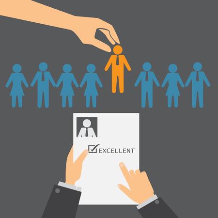 인적 자원 또는 HR 관리 인포 그래픽 요소 및 배경. 채용 과정. 통계, 비즈니스 데이터, 웹 디자인, 정보 차트, 브로셔 템플릿을 사용할 수 있습니다. 일러스트
