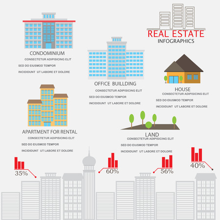 real estate investment: real estate investment infographics element and background. building and house. Can be used for business data, web design, brochure template.