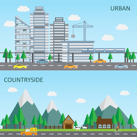 web template: flat design of urban and countryside landscape background, big and small city. Can be used for cover page, business infographics element, web design, brochure template.  Illustration