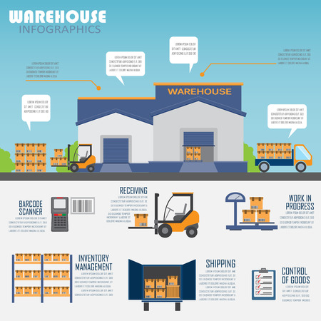 carretillas almacen: almacén, carga, gestión empresarial logística infografía antecedentes y elementos. Puede ser utilizado para los datos de negocio, diseño de páginas web, plantilla de folleto. Vectores