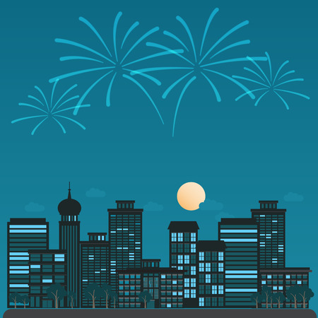 cover page: night cityscape with  celebration firework background and elements. Can be used web design,cover page, brochure template.