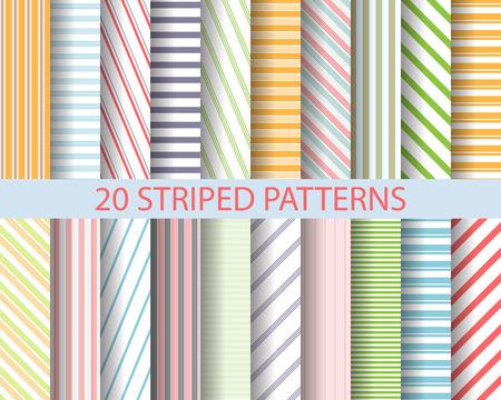 rayas: 20 de color rayas patrones, Muestras patr�n, vector, textura sin fin se pueden utilizar para el papel pintado, patrones de relleno, p�gina web, fondo, superficie Vectores