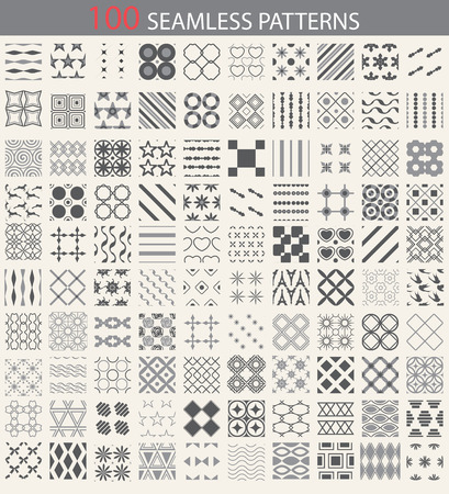 tiles: 100 different vector seamless patterns. Endless texture can be used for wallpaper, pattern fills, web page background,surface textures. Set of monochrome geometric ornaments.