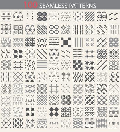 100 verschillende vector naadloze patronen. Eindeloze textuur kan worden gebruikt voor behang, patroonvullingen, webpagina achtergrond, oppervlaktestructuren. Set van monochrome geometrische ornamenten.