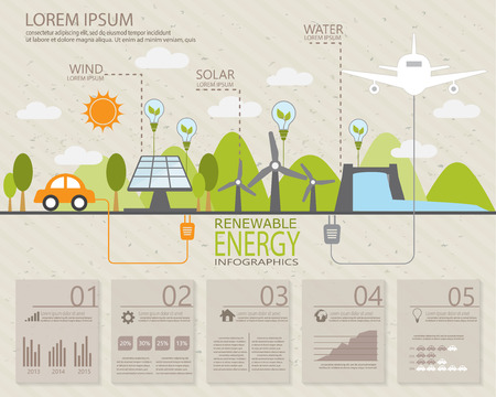 ecology infographic elements, Can be used for workflow layout, banner, diagram, web design, timeline, info chart, statistic  brochure template. vector illustration Vettoriali